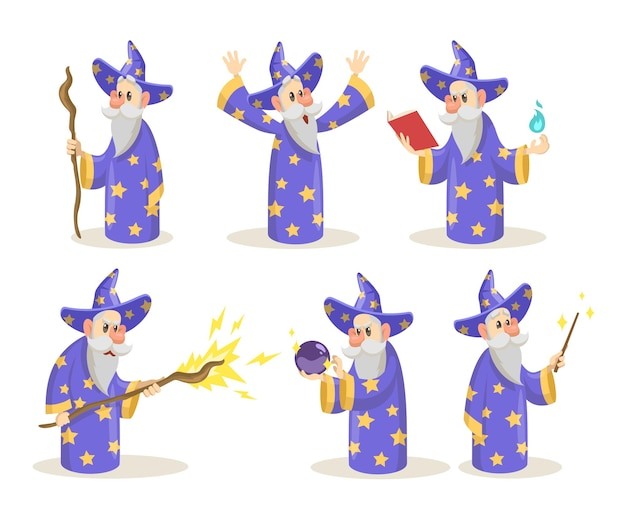 Старый и мудрый волшебник с жезлом, орфография хрустального шара Premium векторы