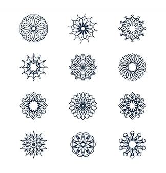 Old arabic mandala lace patterns set, arabesque ornaments