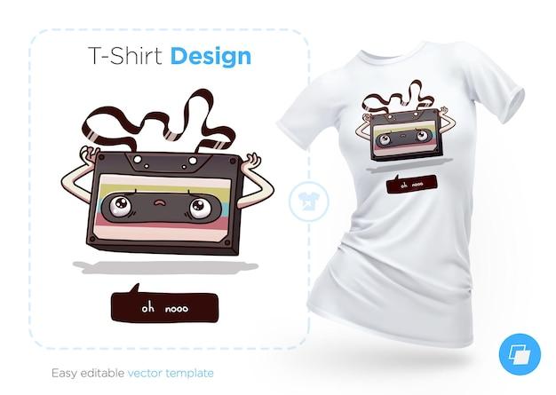 Старый дизайн футболки аудиокассеты. печать на одежду, плакаты или сувениры. векторная иллюстрация