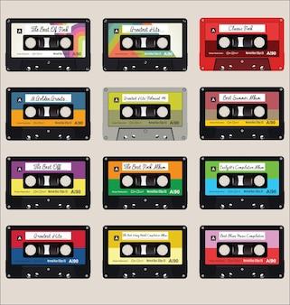 오래 된 오디오 카세트 다채로운 원활한 패턴