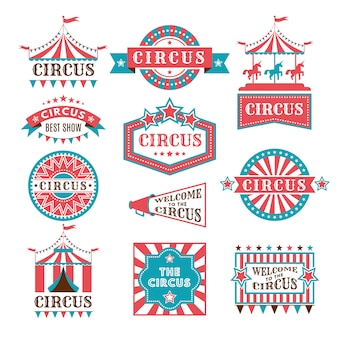 Old badges and labels for carnival and circus show invitation.