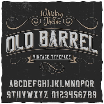 Old barrel poster with decoration and ribbon in vintage style