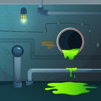 오래된 지하실. 파이프에서 떨어지는 산. 하수 폐기물 및 녹색 화학 액체가있는 게임 배경
