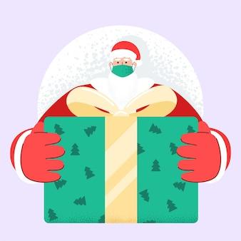 얼굴 마스크와 오래 된 수염 산타 클로스 크리스마스 이브에 선물 및 선물 상자를 제공