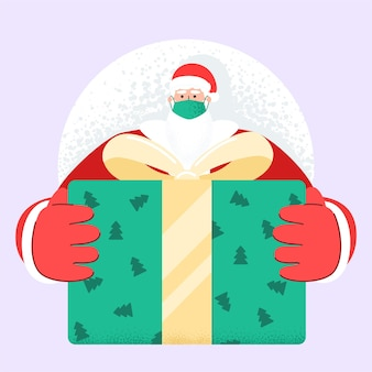 Old bearded santa claus with face mask deliver present and gift boxes on xmas eve