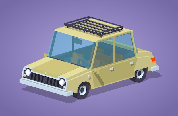 Old beige 3d lowpoly isometric sedan