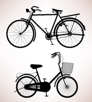 Старая деталь велосипедов. дизайн 2 старых велосипедов.