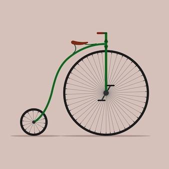 古い自転車、レトロペニーファージングバイク。ハイホイールヴィンテージ自転車。