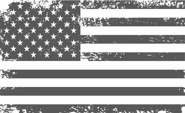 Old black and white american flag