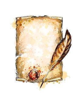 水彩のスプラッシュから古いブランクスクロール紙と羽ペン、手描きのスケッチ。塗料のイラスト