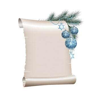 Old blank scroll paper with blue christmas balls on green spruce branch