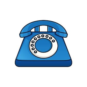 古い青いビンテージ電話のロゴ