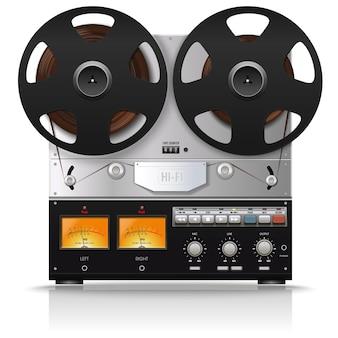 오래된 보빈 녹음기. 빈티지 아날로그 릴 테이프 레코더. 레트로 기술. 삽화