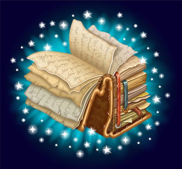バックライト付きの古い魔法の本。