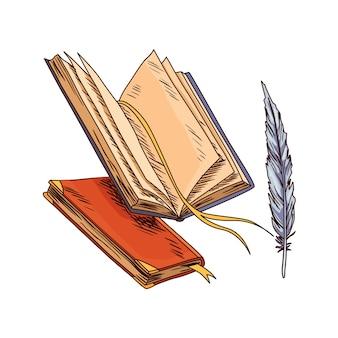 오래된 책. 빈티지 골동품 퀼과 오래 된 메모 용지입니다. 고대 양피지