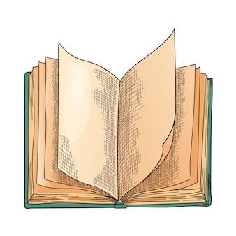 Old book. vector old open book with empty page