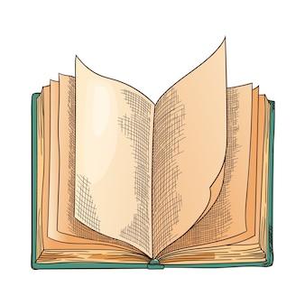 古本。空のページで古い開いた本をベクトル