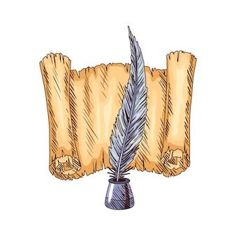 Старая книга. вектор старая бумага прокрутки с винтажным античным пером. древняя пергаментная бумага. ретро канцелярские товары для поэтической работы или образования.