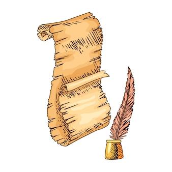 Старая книга. вектор старый свиток бумаги с старинным античным пером. древняя пергаментная бумага