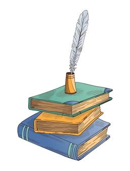 古い本。古い閉じた本は、インク壺のヴィンテージアンティーククイルとフェザークイルペンとスタックします。パーチメント紙。詩の仕事や教育のためのレトロなライティングステーショナリー。