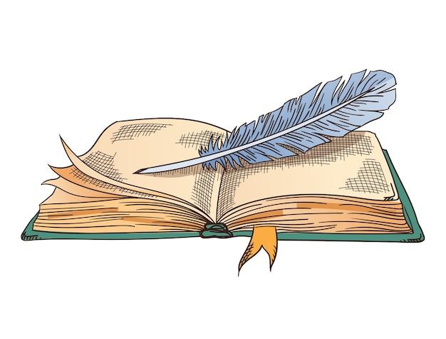 古い本。ヴィンテージのアンティークの羽ペンが付いている古い開いた本。パーチメント紙。詩の仕事や教育のためのレトロなライティングステーショナリー。