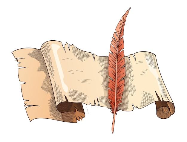 古い本。ヴィンテージのアンティークの羽ペンと古い巻物。パーチメント紙。詩の仕事や教育のためのレトロなライティングステーショナリー。