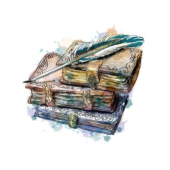 古い本のスタックと水彩のスプラッシュからペン、手描きのスケッチ。塗料のイラスト