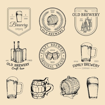 Old brewery logos set. kraft beer retro signs or icons.   vintage ale, lager labels or badges.