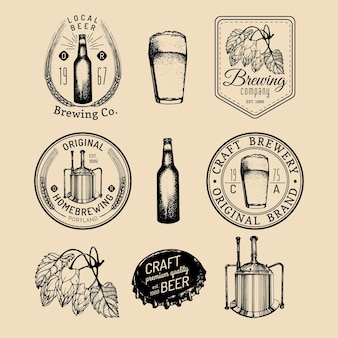 Old brewery logos set.