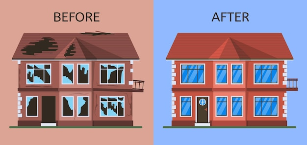 Old broken abandoned building before and after renovation. dilapidated suburban cottage house under construction vector illustration set. home repair and renovation