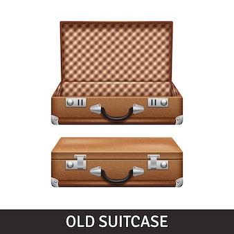 Старый коричневый открытый и закрытый чемодан