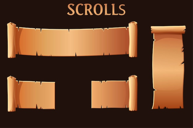 Old brown paper scrolls, blank template for the game ui