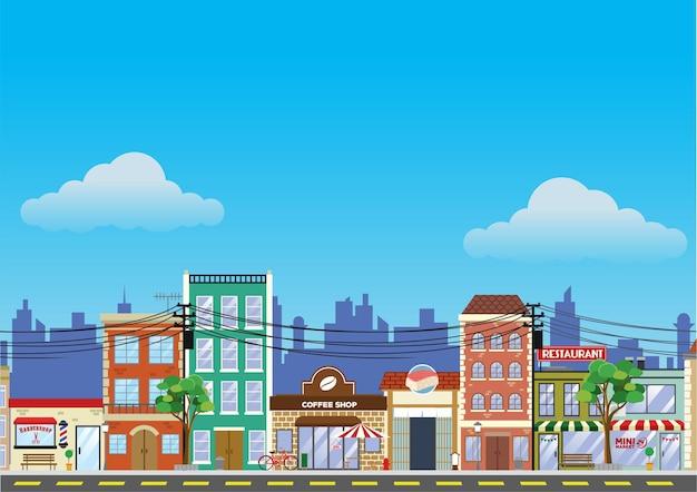 오래된 건물과 쇼핑 거리 시장