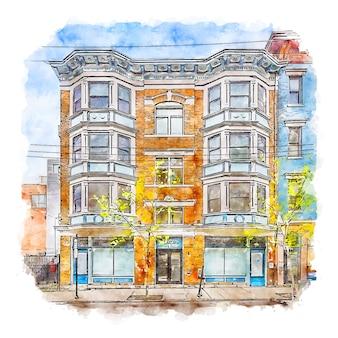 오래 된 건물 미국 수채화 스케치 손으로 그린 그림