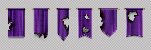 Old burn purple pennant and flags hanging on gold border