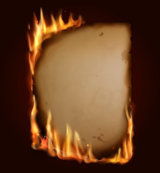 Old burning paper,  burn parchment torn page with realistic fire, sparks and embers.  blank vertical conflagrant card, template for antique letter, vintage scroll, isolated flaming frame