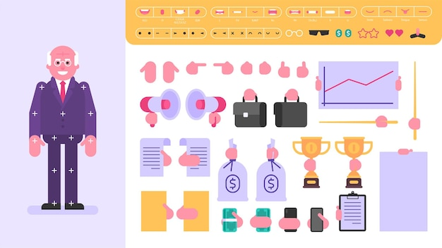 Old businessman character for animation. set of objects. vector illustration
