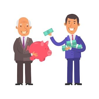 돼지 저금통을 들고 웃고 있는 늙은 사업가, 많은 돈과 한 개의 지폐를 들고 있는 젊은 사업가