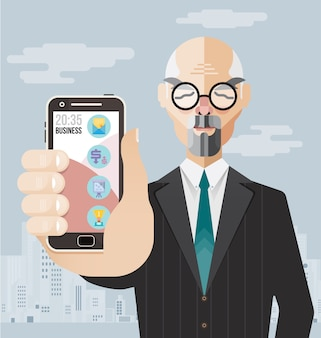 Old businessman showing his smartphone, modern flat illustration, technology, online concept