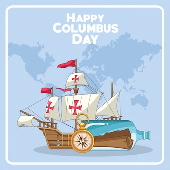Old caravel and happy columbus day design