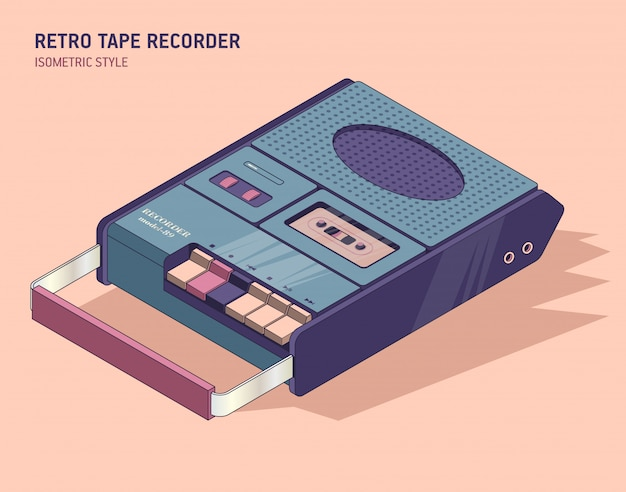 Old cassette player in isometric style.   illustration of vintage musical equipment in retro.
