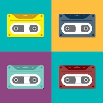 Old cassette, vintage retro cassette tape