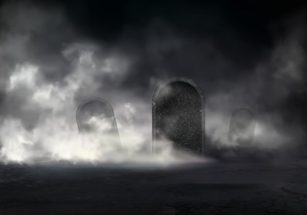 Old cemetery at night realistic vector with sloping gravestones covered thick fog in darkness illust