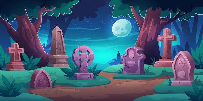 与纪念墓碑的老公墓