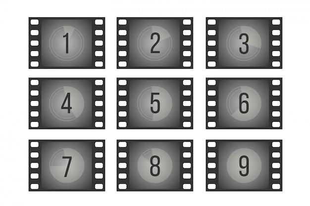 Old cinema film countdown movie frames with numbers set