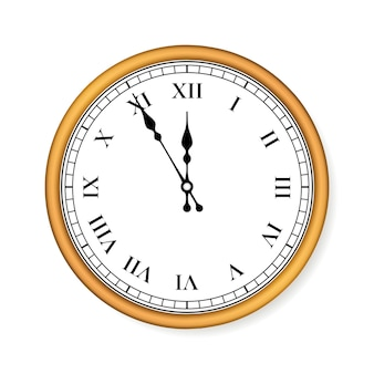 Old circle clock on white background.