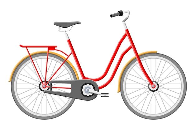 오래 된 도시 자전거입니다. 빈티지 빨간 자전거 흰색 절연입니다. 운송 차량. 평면 스타일의 벡터 일러스트 레이 션