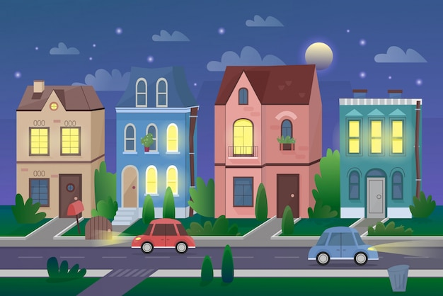 Старый городской пейзаж в ночь мультфильм векторные иллюстрации. городской район маленького города, район городской жизни, центр города. симпатичные жилые дома