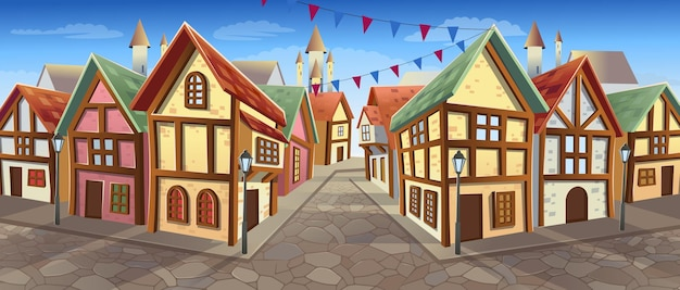 샬레 스타일 주택이 있는 오래된 도시 거리 만화 스타일의 벡터 일러스트 중세 마을 거리