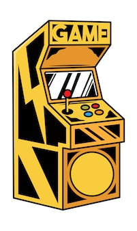Old classic game machine for play retro video game for gamers and geek culture people.